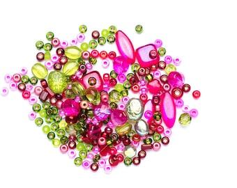 Czech Glass Bead Mix - Seed Bead Mix - Green & Pink Bead Mix