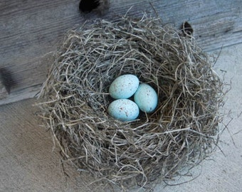 Nest Woodland Handmade with Pale Blue Green Crow's Eggs