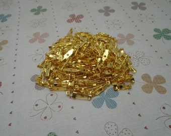 100 PCS 15mmX5mm gold metal bar pin back brooch Create Your Own Hair Accessories