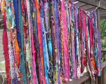 BOHO Gypsy Hippie Garland Curtain Room Divider Dorm Shower Backdrop Door Teen Rag Glamper Door Closet Up-Cycled