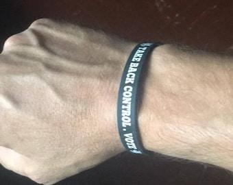 1x Take back control white pendragon wrist band custom made