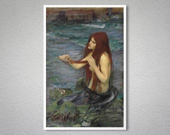 Mermaid  by John William Waterhouse - Poster Paper, Sticker or Canvas Print / Gift Idea