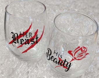 Couple His Beauty and Her Beast Wine Glasses Stemless PAIR SET OF 2
