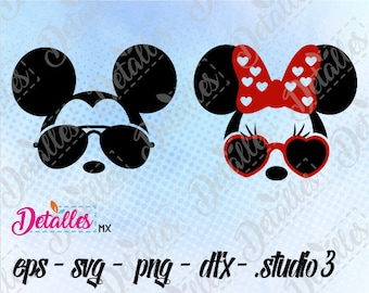 Disney, Mickey Mouse, Sunglasses, Minnie Mouse Head svg Cut File, Vector SVG Eps High Quality design files for Cricut and Silhouette Cameo