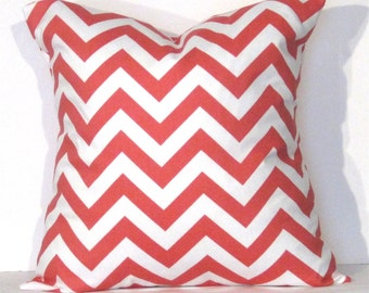 Throw Pillow Cover 16x16  inch Chevron Coral and White