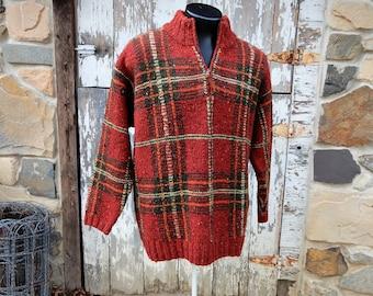 Beatnik Mens Wool Burnt Red Plaid RALPH LAUREN Henley Hand Knit Sweater sz S/M