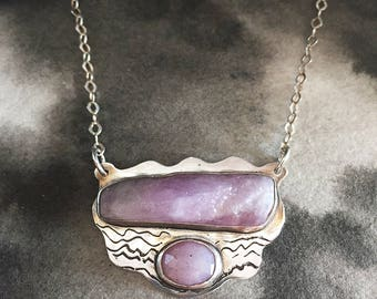Cloudscape raw morganite and rosecut sapphire double sided necklace, etched sterling silver, pink stone statement jewelry, hand drawn design