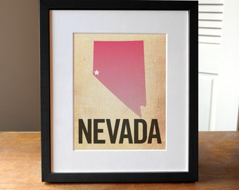 Nevada Print, State Print Nevada, Las Vegas Print, Burlap, Ombre, Reno Art