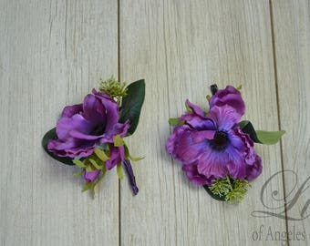 Corsage, Pin Corsage, Wrist Corsage, Boutonniere, Anemone Corsage, Wedding Corsage, Rustic Boutonniere, Wedding Boutonniere, Lily of Angeles
