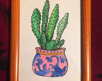 Opuntia Humifusa Cactus-Watercolor Framed Original
