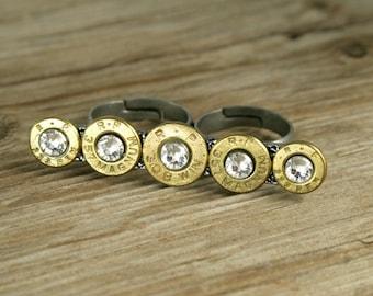 Bullet Ring / Double Finger Brass Bullet Ring RP-308-357-223-MR / Double Finger Ring / Brass Ring / Brass Bullet Ring / Custom Bullet Ring