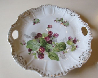 ANTIQUE BOYSENBERRY PLATE with Handles
