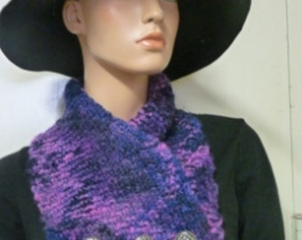 Knitted cowl in Manos del Uruguay kettle dyed purple wool