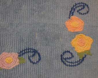 Vintage Chenille RUG - Vintage Blue Chenille Rug with Pink, Yellow and Lavender Lollipop FLOWERS, Green Leaves and Scroll Designs
