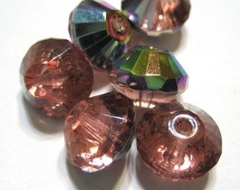 Czech Glass Faceted Fire-Polished Rivoli - 9x14mm - Rose AB - (7)