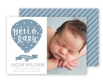 Boy Birth Announcement Template - 5x7 birth announcement template - Birth Announcements
