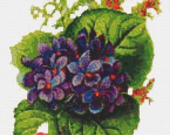 Cross Stitch Pattern, Cross Stitch Patterns, Cross Stitch, Counted Cross Stitch, Cross Stitch Chart, Xstitchpatterns, Cross Stitch Violets