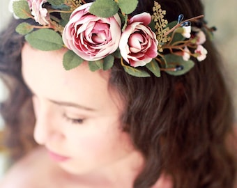 Autumn bridal crown, Fall wedding headpiece, blush mauve flower crown, dusty pink hair crown, woodland circlet, ranunculus and rose wreath