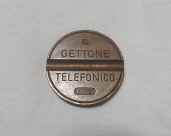 1977 Vintage Italian Getton Telefonico Token, #7711, Vintage Token, 15/16 Inch Diameter, Slotted on Both Sides, Vintage Italian Keepsake