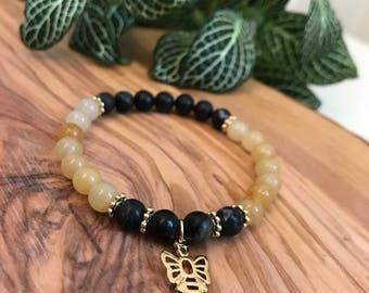 Save the bees, bee bracelet, citrine bracelet,bumblebee charm, network stone, honey bracelet, bee Charm, healing crystals, gemstone bracelet