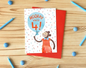 Hooray You're 4! Greetings Card, Children's Illustrated Birthday Card, Monkey Four Years Old Card