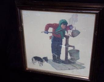 Vintage Norman Rockwell impression d'Art. Impression d'hiver froid. Garçon que de l'eau de l'impression bien. appelé Winter.Turner mur accessoire de l'Art.