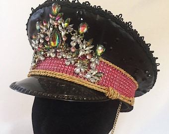 Burning man military officer hat - pink and iridescent rhinestone, faux leather and black crystals