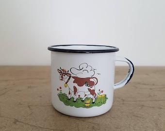 Vintage Enamel cup metal mug pot mug/kitchen decoration/Shabby chic country house farmhouse/pot planting pot/camping trip (2)