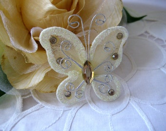 30 Ivory Nylon Butterflies 2 inches for Wedding Decor, Flower Arrangement, Baby Shower, Table Scatters, Christening, Baptism Favors
