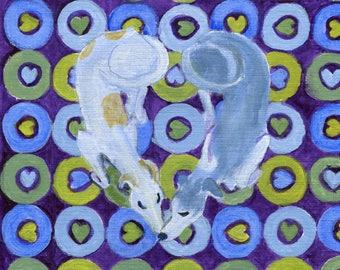 "Greyhound art card, ""Greyhound on geometric hearts"" , 5"" x 5"" blank card"
