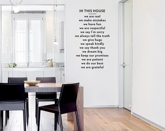 In This House Wall Quote Decal   Living Room Wall Decal, Family Wall  Sticker,