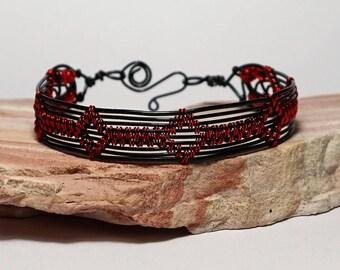 wire wrapped bracelet, black and red bracelet, wire bracelet, gift for her, beaded bracelet