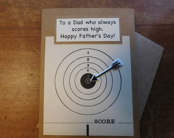 Father's Day Card - Shooting Father's Day Card - Arrow Card -Happy Father's Day Greeting Card with real shooting target bull's eye and arrow