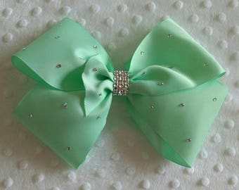 "Large 8"" Mint Green Boutique Hair Bow with Rhinestones like JoJo Siwa Bows Signature Keeper Dance Moms"