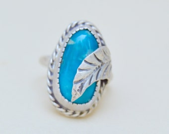 Vintage Silver Blue Turquoise Glass Leaf Ring