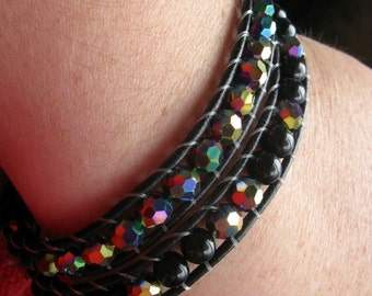 Wrap Bracelet . KRISTINA. black and rainbow glass beads with leather wrap bracelet