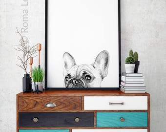 Watercolor art Modern French bulldog painting wall artwork Home decor contemporary art print PEEKABOO living room interior Frenchie lovers