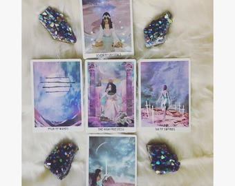 """TAROT reading """"LUNAR CYCLE"""" (card for each phase of lunar cycle- month ahead) • 5 cards • spirit guides give insight"""