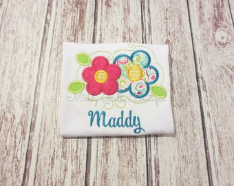 Girls Spring Flowers Appliqued Shirt - Embroidered, Personalized, Monogram, Girls, Flower, Spring Flower, Summer, Swirl, Girls Flower Shirt