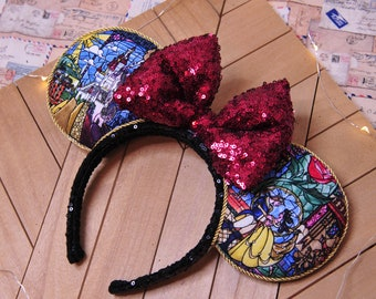 Beauty and the Beast Mouse Ears, Beauty and the Beast Minnie Ears, Belle Mouse Ears, Custom Ears, Sequin Bow, Disney Ears, Gift, Handmade