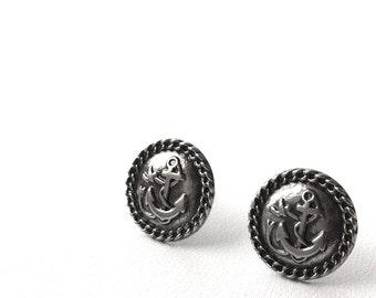 Gun Metal Anchor Stud Earrings.  Will arrive in Gift Box w/Ribbon. FAST shipping from USA with Tracking for US Buyers.