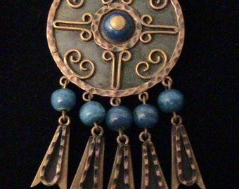 Vintage Casa Maya MEXICO Large Copper & Brass Blue Bead Pendant Brooch