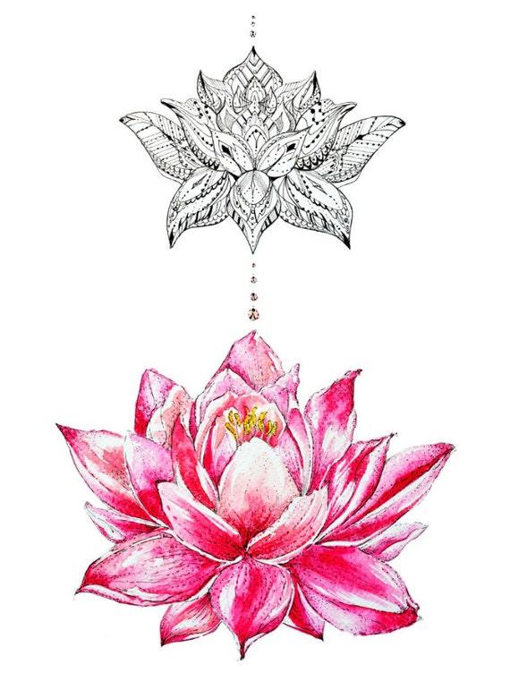 Pink lotus flower abstract art pen work art floral design mightylinksfo