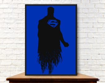 Superman Poster Superman Poster Minimalist Poster Superman Print Superman Minimal Print Superman Wall Art Superman Art Superman Gift