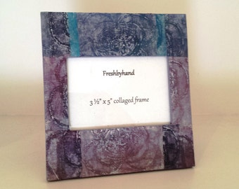 Etched in Violet & Blue, 3 1/2 x 5 collaged picture frame