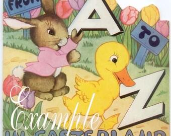 Easter Land,Digital Download,Easter child's book image vintage reproduction,make tags, cards,rare
