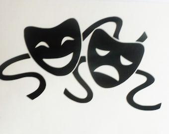 Comedy Tragedy Drama Theatre Masks Vinyl Decal Vinyl decal Laptop decal Laptop sticker Macbook decal Macbook sticker Macbook vinyl