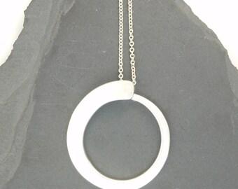 Sterling Silver Enso Necklace Large Circle Pendant Minimalist Jewelry Silversmith Modern Jewelry Forged Silver Jewelry Zen Jewelry .925