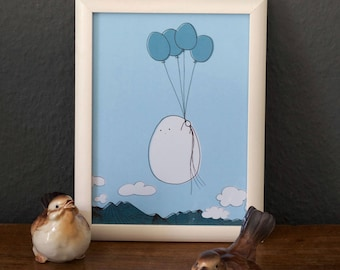 A5 print - Chubby Nugget flying with balloons, kawaii, kids room, nursery