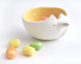 Ceramic Fox Bowl with Yellow Engobe and Sgraffito of Triangles Inside. Ready To Ship